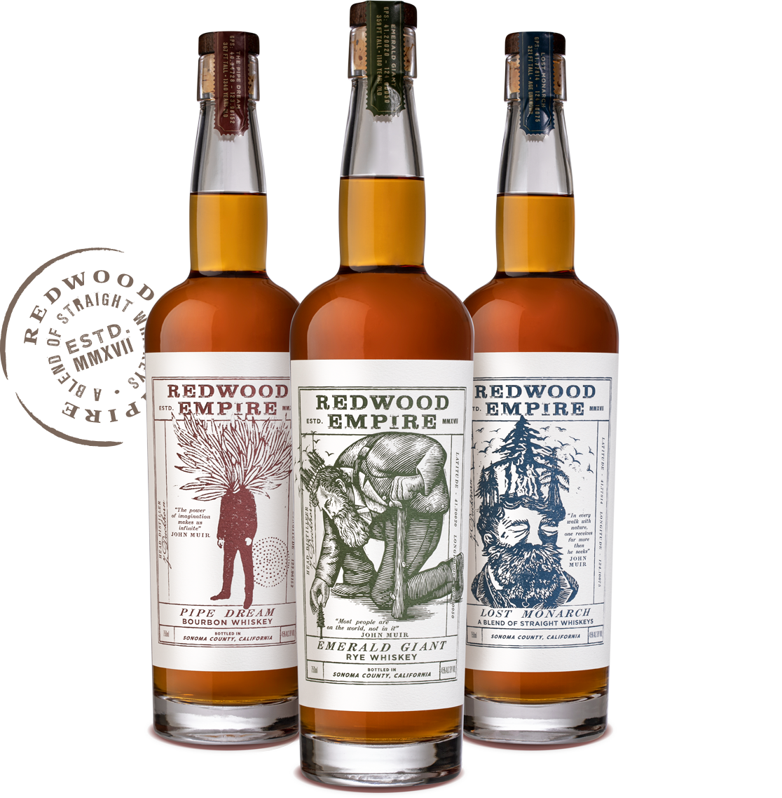 Pipe Dream - Bourbon Whiskey / Emerald Giant - Rye Whiskey / Lost Monarch - A Blend of Straight Whiskeys